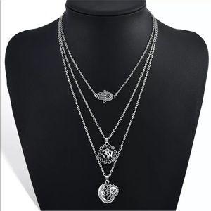 Jewelry - Boho Silver 3 Layer Necklace w/ Charms